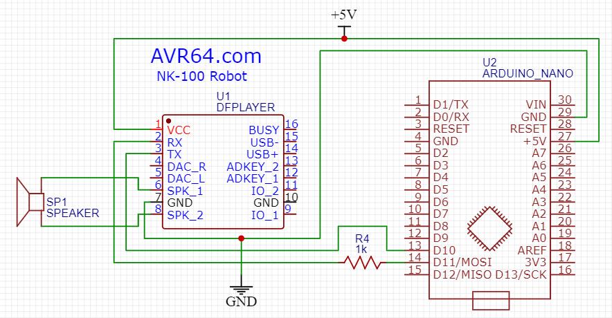 نقشه اتصال dfplayer به آردوینو